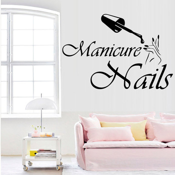 Mode Vinyl Muurtattoo Nagels Salon Ontwerp Muurstickers Interieur Manicure Voor Schoonheidssalon Raamdecoratie Sticker