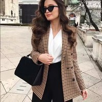 Women Plaid Blazer Long Sleeve Double Breasted Slim Checked Coat Formal Jacket Blazer Office Suit Lady Outerwear