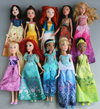 1/6 29cm Rapunzel Princess Jasmine Doll Sofia Snow White Ariel Merida Cinderella Aurora Belle dolls For girls toy 11pcs set disney princess toys cinderella belle mermaid ariel sofia snow white fairy rapunzel action figures disney doll gift