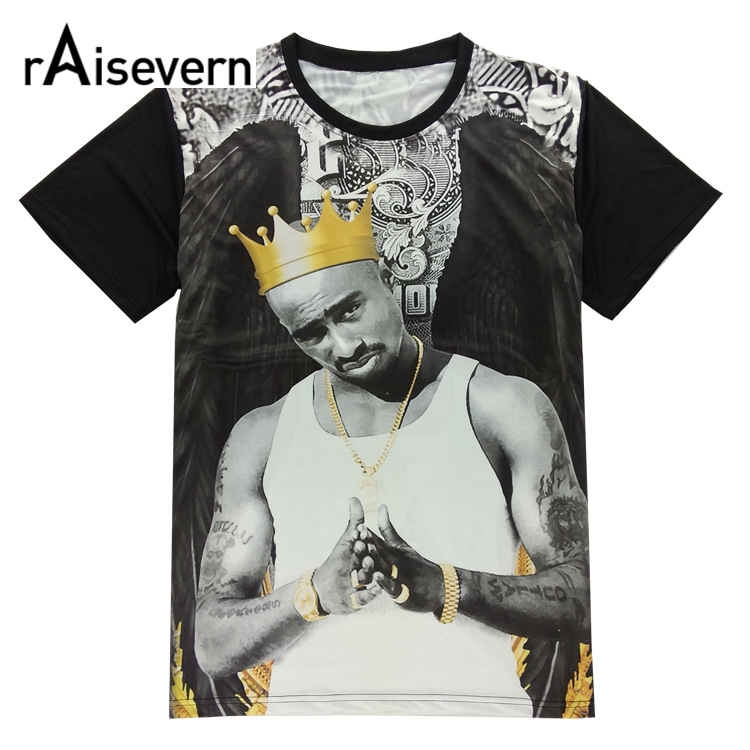 T-shirts Raisevern Fashion 3d Tee Shirt Tops Tupac 2pac Wearing Golden Crown T Shirt Top Hip Hop Clothes Short Sleeved Summer Clothing