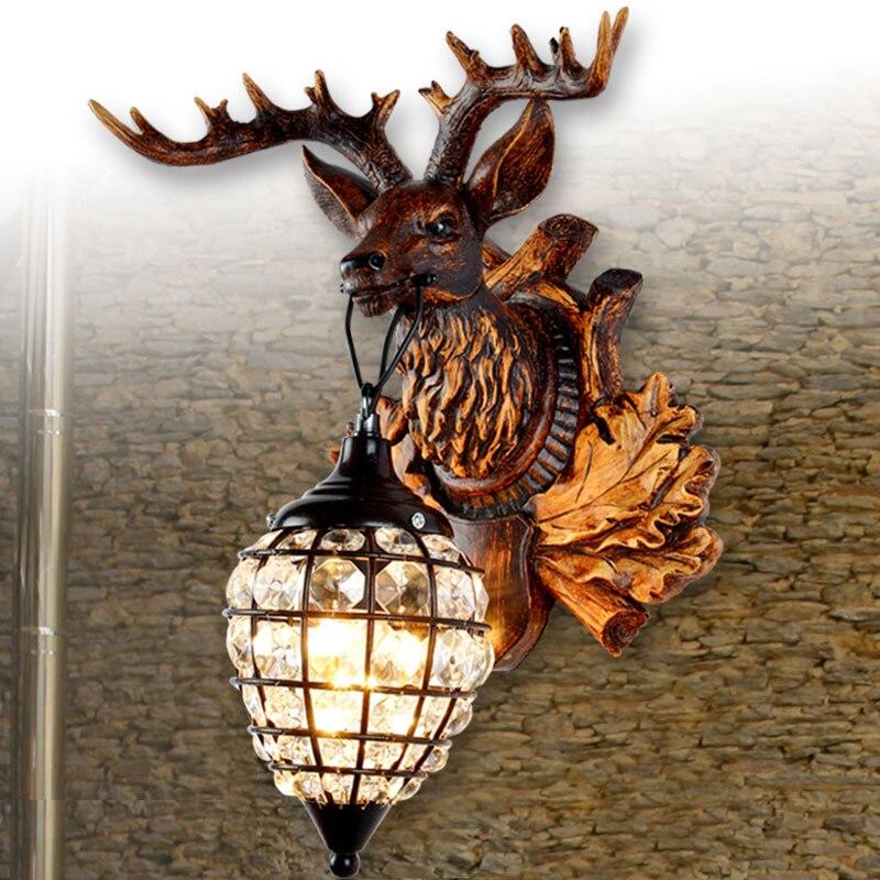 Resin Deer Horn Wall Lamp light Home Bed-lighting Diamond Wall Sconces Deer Head Decoration Wall Lights mist forest deer wall hanging tapestry