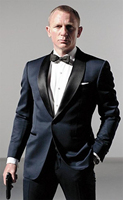 Newest Groom Tuxedos Navy Blue Groomsmen Shawl Black Satin Lapel Men Wedding Suits Best Mens Suit (Jacket+Pants+Tie+Girdle) B607