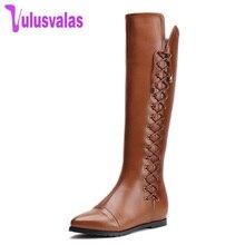 Купить с кэшбэком VulusValas Size 33-43 Real Leather Women Boots Winter Fur Zipper Square Heels Warm Shoes Women's Pointed Toe Knee High Boots