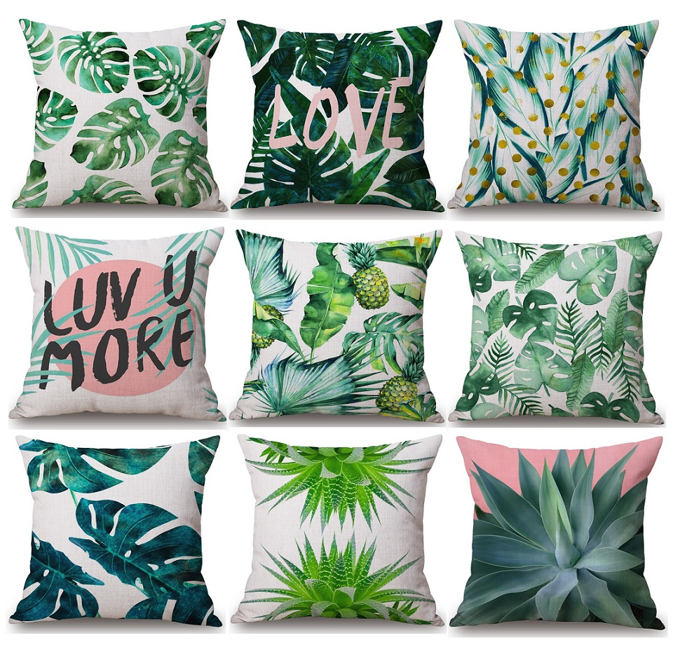 monstera green leaves cushion covers tropical plants cactus pineapple palm leaf cushion cover. Black Bedroom Furniture Sets. Home Design Ideas