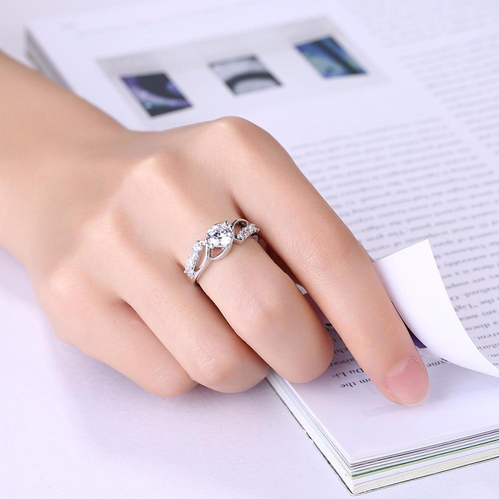 GNIMEGIL Brand Jewelry Women Decoration Rings White Stone Copper ...