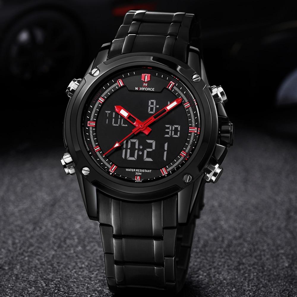 New Luxury Mens Watches NAVIFORCE Fashion Military Sports Watches Men Full Steel Quartz Analog Clock Male Waterproof Wristwatch цена 2017