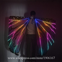 New Women Belly Dance LED Luminous Wings Girls Dance Wing Butterfly Halloween LED Light Butterfly Cloak Accessories Props Stage