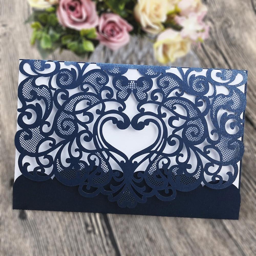 Romantično Cvetje Poročno vabilo Nežno izrezljano Majhen - Prazniki in zabave