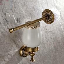 Montaje en la pared Retro Vintage latón antiguo baño cepillo soporte Set baño accesorio simple Taza de cerámica mba490