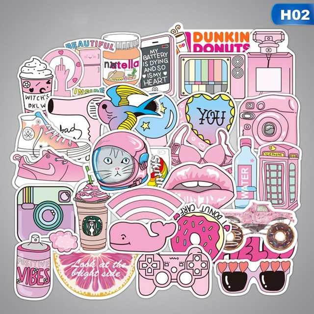 50 pcs/pack Pink Fashion Style Graffiti Stickers For Moto car & suitcase cool laptop stickers Skateboard sticker