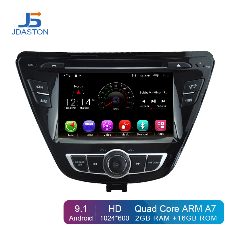 JDASTON Android 9.1 Car DVD Player For Hyundai ELANTRA 2013 2014 2015 Multimedia GPS Navigation 2Din Car Radio Audio Stereo WIFI