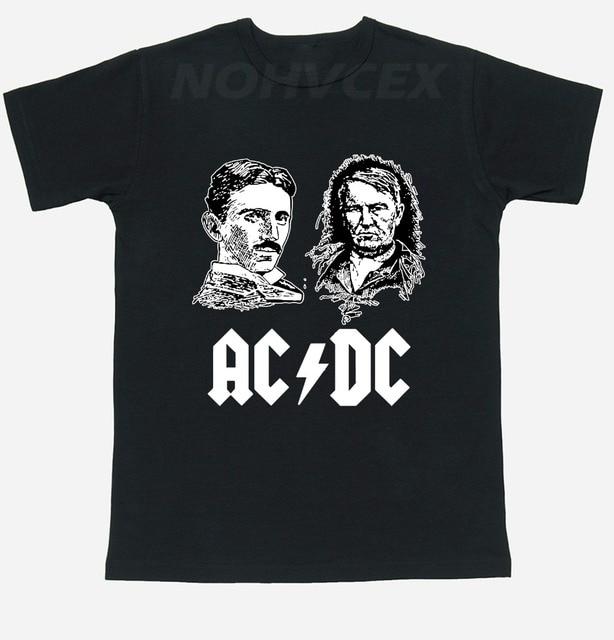 Ac Dc Tesla Edison Thomas Scientists Subject T Shirt Men S And Women Short Sleeve