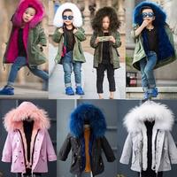 2017 Winter Coat Children's Parkas Winter Jackets Girls Clothing Girls Jacket Clothes for Baby Girls Kids Real Rabbit Fur Coat