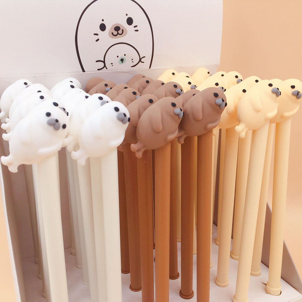 1Pcs Cute Cartoon Sea lion Silicone Gel Pens Kawaii Stationery Material Office School Supplies Kids Gifts(China)