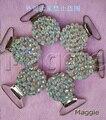 Frete Grátis ABcolorful 12 Pcs de Bling strass Duckbill clipes titular 396 Mordedores chupeta clipe cadeia chupeta do bebê peças de Metal