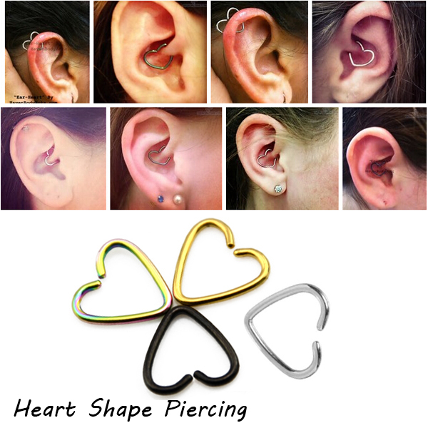 Bog Lot 4 Pieces Surgical Steel Heart Daith Piercing Cartilage Rook