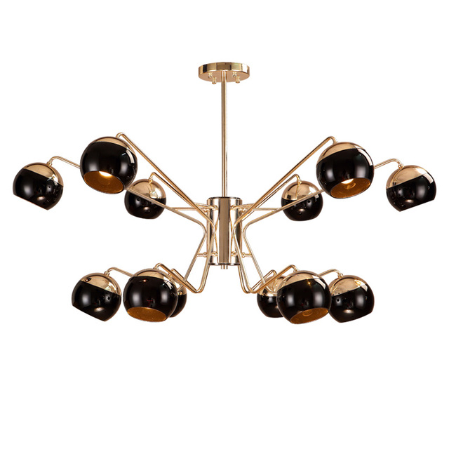 Aliexpress buy nordic creative 12 head led chandelier light nordic creative 12 head led chandelier light toolery black modern iron body hanging lamp villa e27 mozeypictures Images