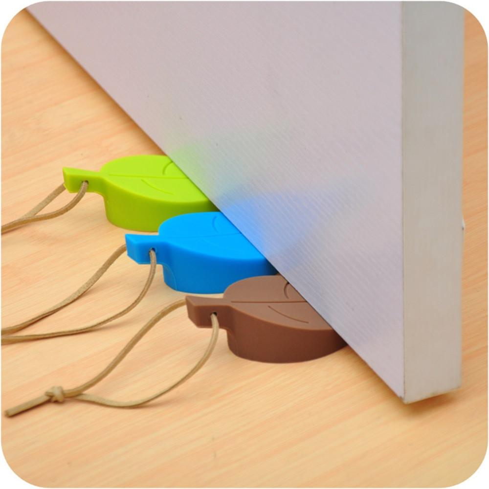 Silicone Leaves Design Door Stop Stoppers Safety Keeps Doors From Slamming Prevent Finger Injuries Kids Jammers Holder Lock Q2 new rubber wedge door stop stopper holder safety prevent keep door from slamming safely security gray white free shipping