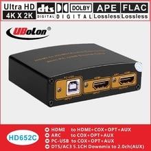 K * k HDMI para HDMI Conversor Extrator de 2 4 Coxial Óptica L/R SPDIF DTS/AC3 dolbdecoder engrenagem 5.1 downmix para 2.0 Placa De Som PC-USB ARC