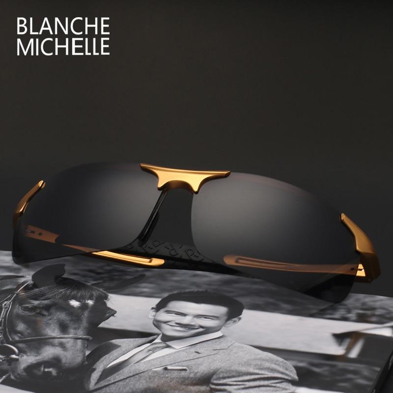 High Quality Ultra-light Aluminum Magnesium Sport Sunglasses Polarized Men UV400 Rectangle Gold Outdoor Driving Sun Glasses 4