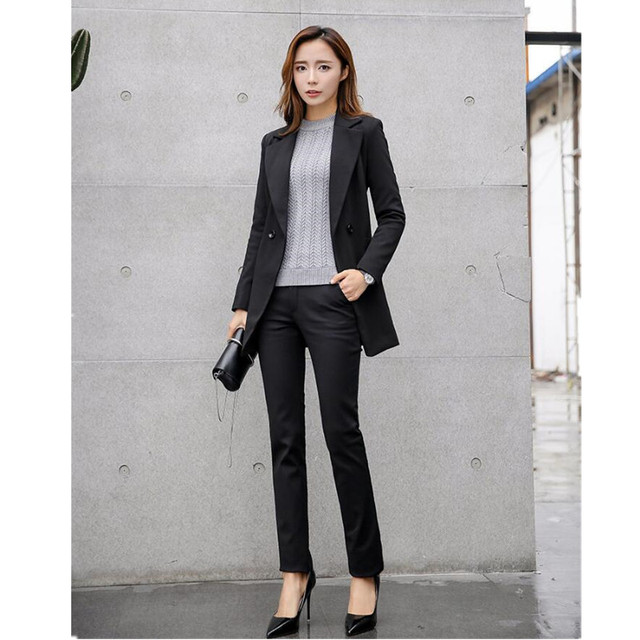 Ms woman, dressed in a suit jacket + pants suit, cultivate one's morality  long sleeved two piece formal suit-in Pant Suits from Women's Clothing &