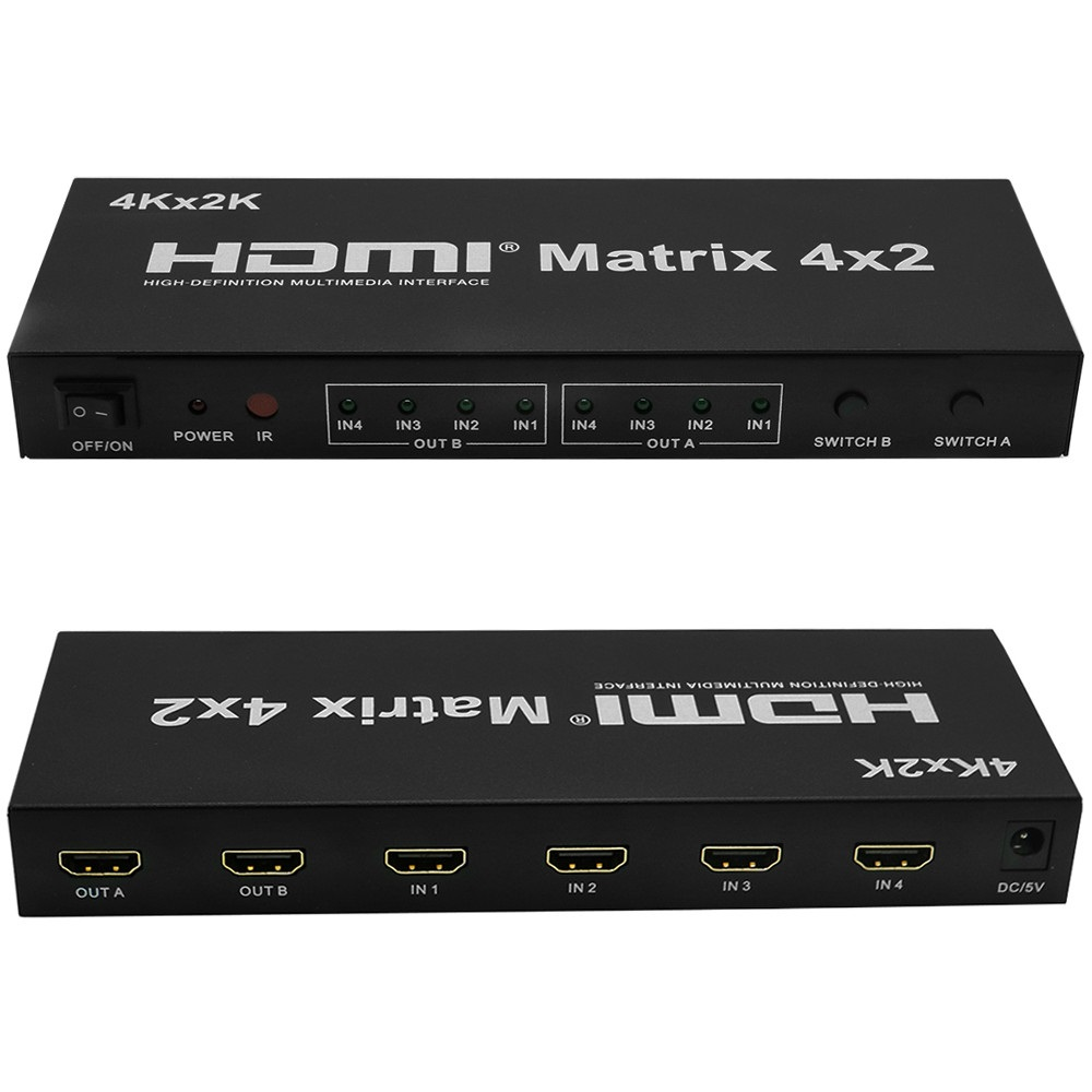 New HDMI Matrix Switch 4x2 With Remote Control HDMI V1.4 Switcher Splitter Converter Adapter Support 4K*2K 3D 1080P High Quality doitop 4x1 hdmi multi viewer hdmi quad screen real time multi viewer hdmi splitter seamless switcher 1080p 60hz 3d ir control