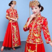 Красное Старинное платье невесты винтажная вышивка леди Qipao Дракон& Phoenox Традиционный китайский стиль Королевский свадебное Ципао костюм
