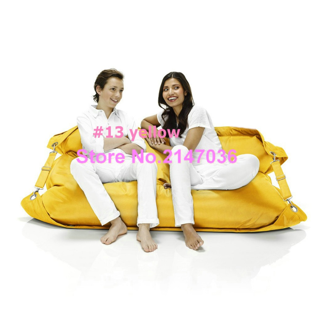 yellow two seat outdoor bean bag sofa chair outdoor belts on side safe furniture portable ctyn