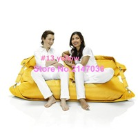 yellow two seat outdoor bean bag sofa chair - outdoor belts on side safe furniture, portable ctyn
