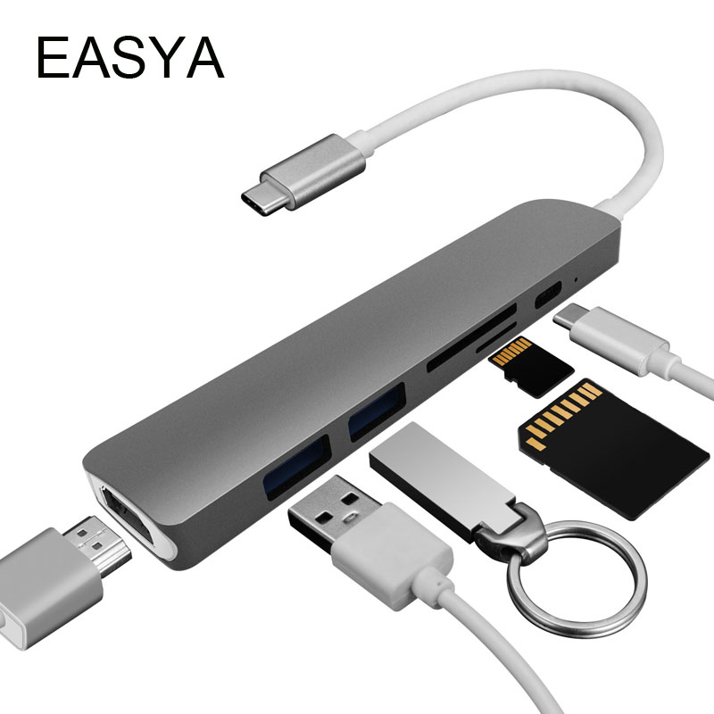 EASYA 6-in-1 USB C Hub to HDMI Thunderbolt 3 Adapter with Power Delivery SD/TF Card Reader USB 3.0 HUB for MacBook Pro Type-C dual usb 3 1 type c hub to card reader usb c hub 3 0 adapter combo with tf sd slot for macbook pro 2016 2017 usb c power deliver