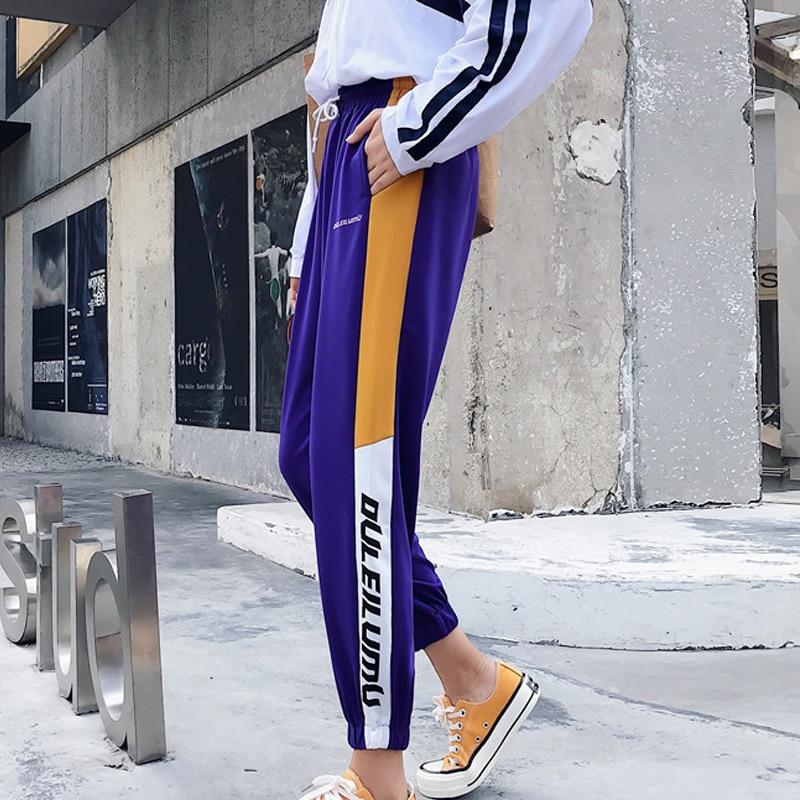 autumn Harajuku Fashion Women Harem Pants Womens Striped Patchwork Pockets Elastic Waist Sweatpants Female Casual girls trousers