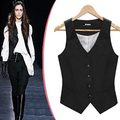 OL Slim vests waistcoat Elastic Black jackets women sleeveless coat