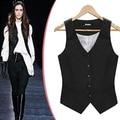 OL Slim vests waistcoat Elastic Black jackets women sleeveless coat
