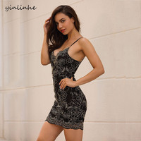 Yinlinhe Floral Embroidered Strap Slim Sexy Dress 2018 Women Summer Backless Black Lace Dress Club Wear