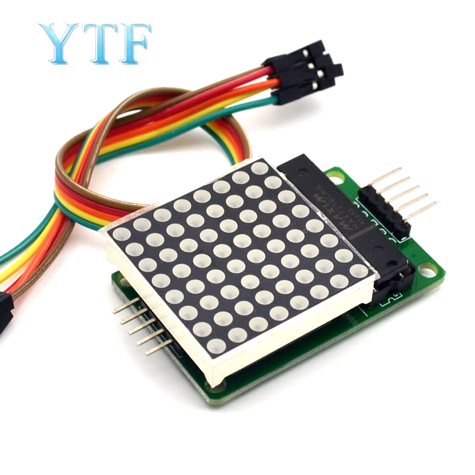 8x8 8*8 MAX7219 Dot Led Matrix Module MCU LED Display Control Module For Arduino 5V Interface Module Output Input Common Cathode