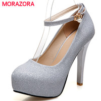 MORAZORA Extreme high heels shoes woman buckle solid shallow platform shoes elegant women pumps wedding shoes big size 34 45