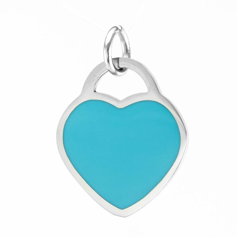 Simsimi blue heart charms small mini tag pendant DIY necklace bracelet jewelry making stainless steel parts bulk wholesale 10pcs