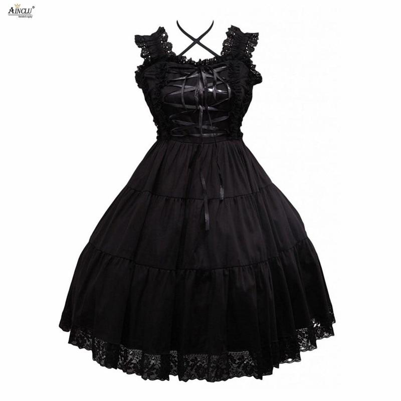 Girls Lolita Dress Gothic Fashion Style Cotton Black Sleeveless Sling Cospaly Lolita Dress/Supporting Customization XS-XXL