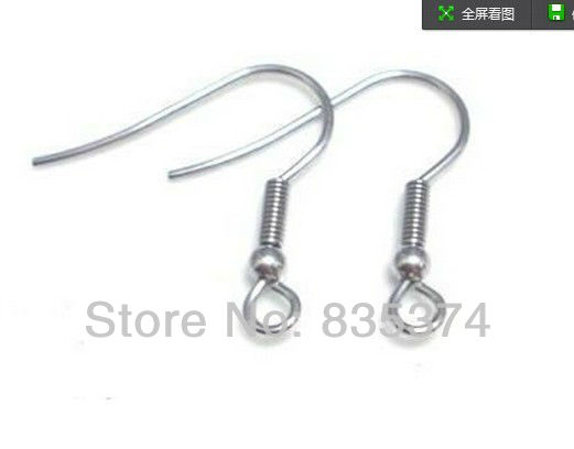 1000pcs/lot 316L Surgical Stainless Steel Ear Hook with Pearl and Spring Ear Wire Earrings Findings