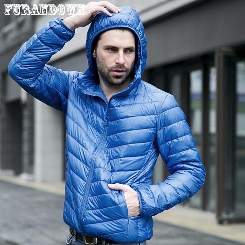 2018 New Designer Fashion Mens Short Winter Hooded Jacket Men Brand White Duck Down Coat Jackets Plus Size XXXL