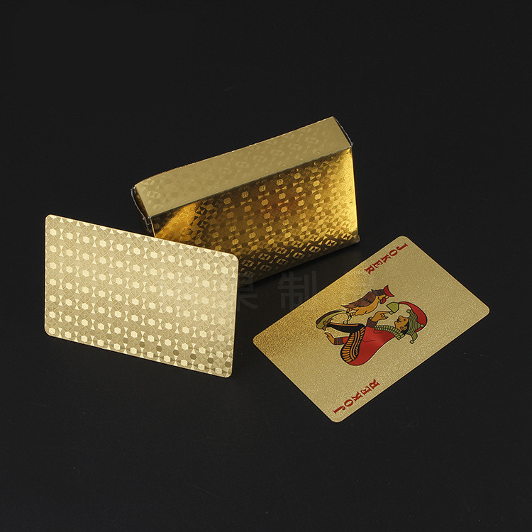 Quality Plastic 24K Gold Playing Cards Game Deck Gold Foil Poker Set Plastic Waterproof Magic Playing Cards Creative Gift