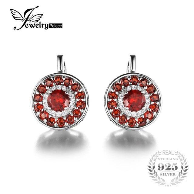 Jewelrypalace 2.5ct redondo rojo granate genuino clip en los pendientes de plata de ley 925 2016 nueva moda de joyería fina para las mujeres