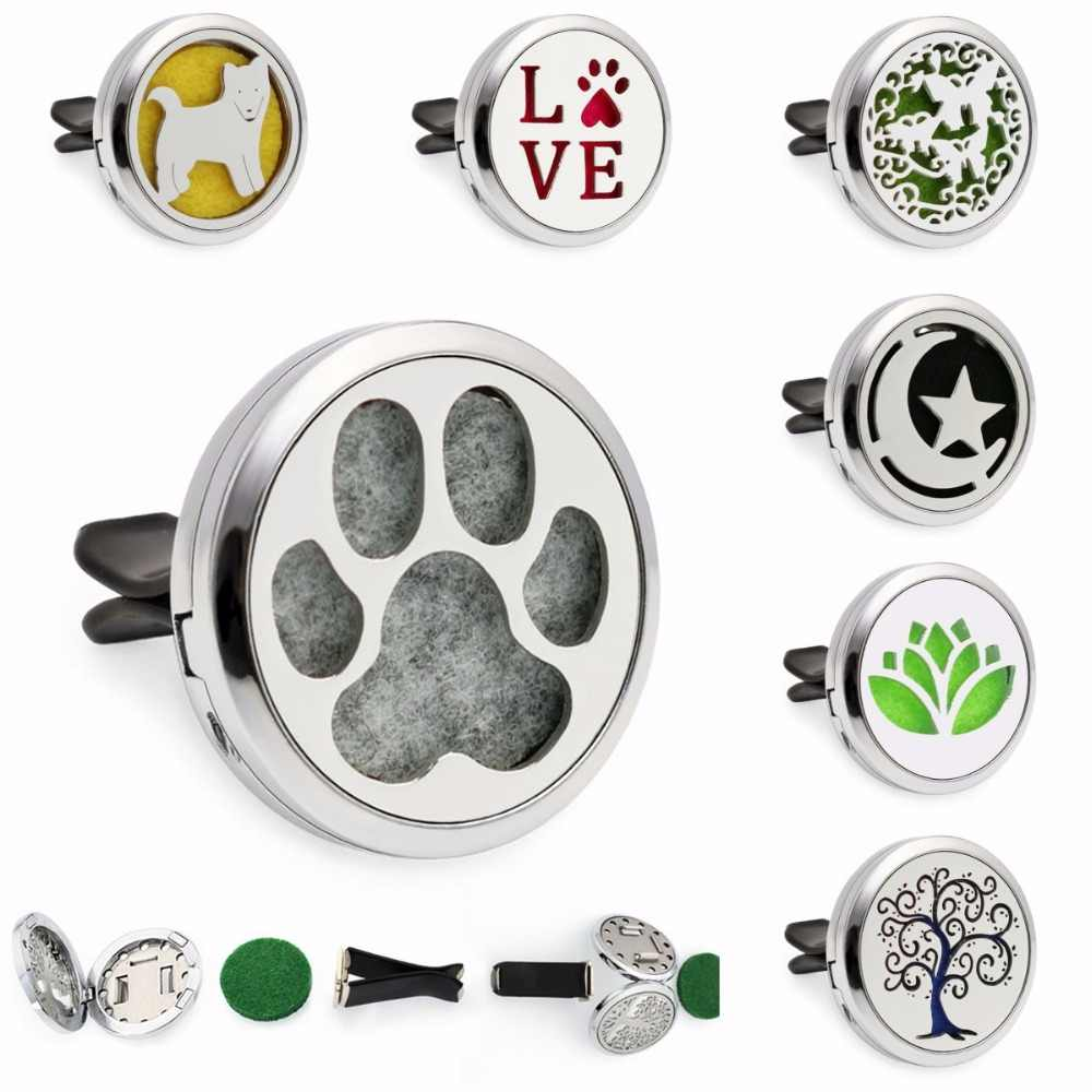 30mm Removable Car Vent Clip Diffuser Locket Bear Paw Moon Stars Essential Oil Aromatherapy Car Perfume Locket 10pcs Pads Gifts