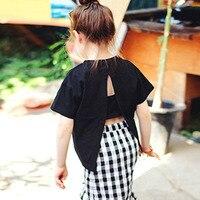 Girl T Shirt Backless Teenage Baby Girls Cotton T Shirt Summer Short Sleeve T Shirts Princess