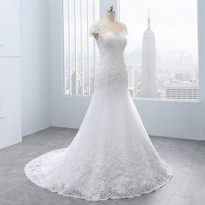 Image 2 - 2020 Vestidos de noiva kısa Backless dantel düğün elbisesi es Mermaid aplikler İnciler beyaz gelinlikler artı boyutu düğün elbisesi