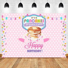 Pancakes Pajamas Party Backdrop Sleepover Birthday Pajama Party Photography Background Pink and White Colorful Banner Backdrops pajama party