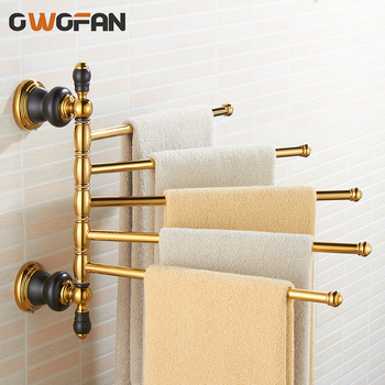 Luxury Gold Towel Racks Antique Brass Bathroom Rotation Bars Holder Wall Mounted Folding Moveable Bath Bar XL-66840