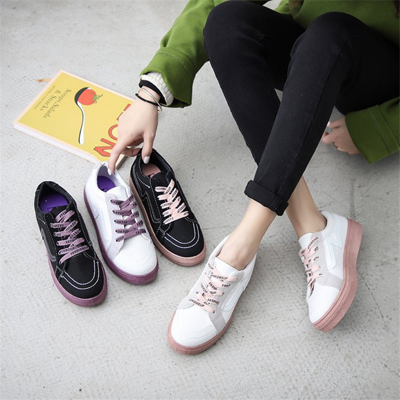 2019 Summer Woman Sneakers White Black Zapatillas Mujer Shoes Woman Fashion Flat Ladies Vulcanized Sneakers