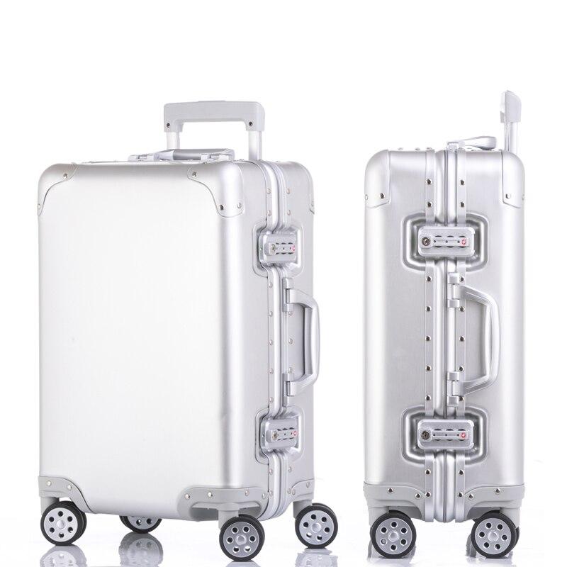 20''24''26''29'' Full Aluminum Frame Rolling Luggage Spinner Travel Suitcase original 3d luggage Women Boarding Box Carry On Bag 20 25 29 aluminum magnesium alloy metal luggage fashion spinner rolling suitcase business aluminum frame luggage