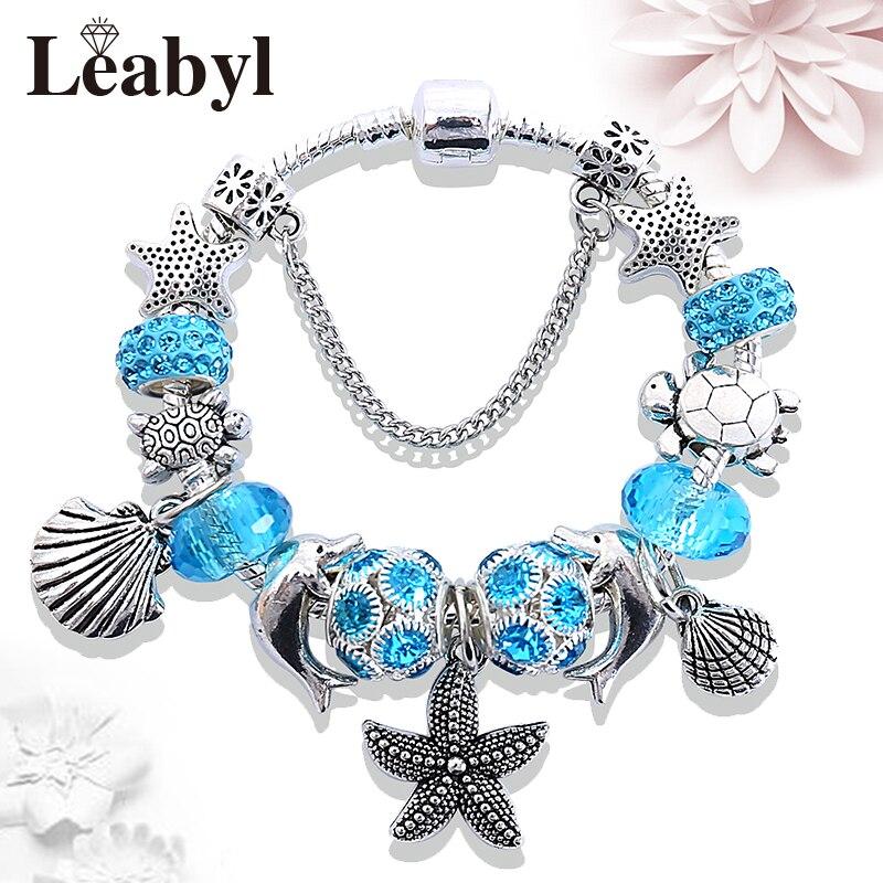Drop Ship Ocean Style Dolhin Tortoise Shell Bead Bracelet Bangle Blue Crystal Charm Bracelet Diy Jewelry Gift